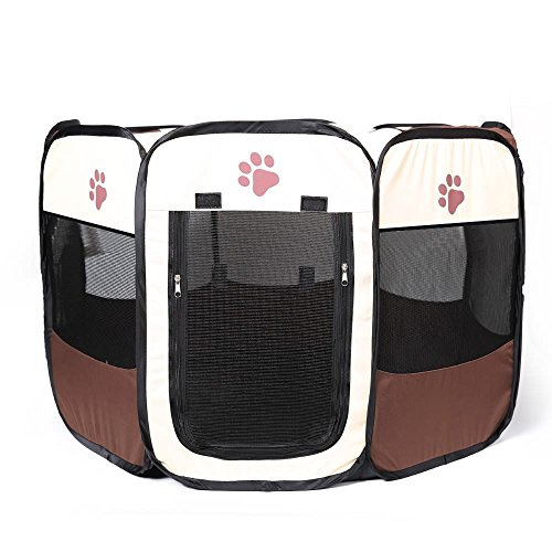 Pet Playpen Foldable Portable Dog/Cat/Puppy Exercise Kennel Playpen For Small Large. The Best Indoor And Outdoor Pen. With Cary Bag. Easily Sets Up & Folds Down & Space Free (S, Brown)