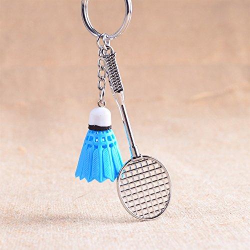 VEA-DE Mode Keychain Geschenk Badminton Schläger Anhänger Metall Schlüsselanhänger Geldbörse Handtasche Auto Charme Keychain Geschenk (blau)