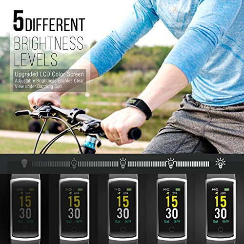 FITFORT-Fitness-Tracker-with-Blood-Pressure-HR-Monitor-2019-Upgraded-Activity-Tracker-Watch-with-Heart-Rate-Color-Monitor-IP68-Pedometer-Calorie-Counter-and-14-Sports-Tracking-for-Women-Kids-Men