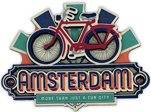 Matix Imán Amsterdam MDF, diseño de bicicletas, color verde y azul