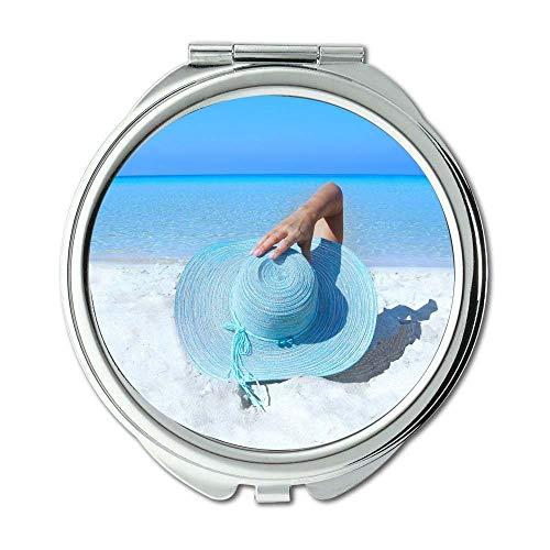 Yanteng Spiegel, Travel Mirror, Strand blau weiblich, Taschenspiegel, tragbarer Spiegel