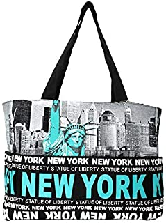NY Statue of Liberty Skyline Canvas Tote Shoulder Bag