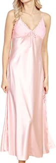ASHER FASHION Women's Sexy Satin Long Nightgown Lace Slip Lingerie Chemise Robes