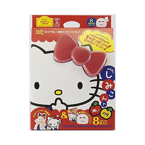 Japan Gals Hello Kitty lint gezicht apparatuur en masker set (facial apparatuur mask sheet 8 vellen)