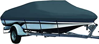 LEADALLWAY Heavy Duty 210D Polyester Cover Marine Grade Trailerable Boat Cover,  Fits V-Hull Tri-Hull Runabouts and Bass Boats,  Green Gray