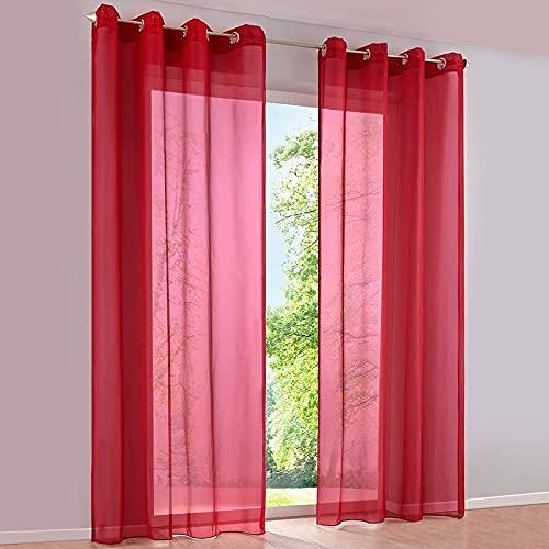 SIMPVALE 2 Paneles Cortinas con Ojales Translúcida Visillos para Dormitorios Habitación Salón Balcón,Rojo,140cm x 145cm