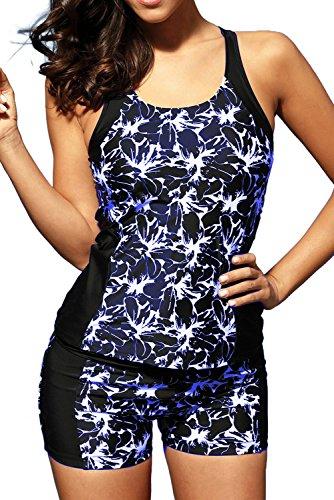 AlvaqWomen'sSexyModest Swimwear2PiecePlusSizeMaternitySwimwearTankiniSwimsuits For Juniors3XLBlue