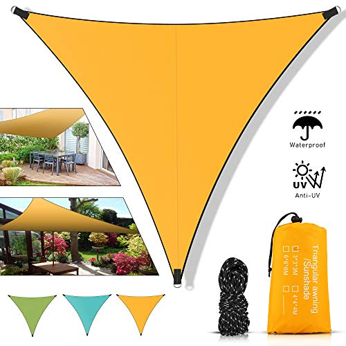 Toldo triangular de Molbory, 3 x 3 m, con cuerdas de fijación, protección solar, protección UV, protección contra el viento, impermeable, toldo para jardín, exterior, terraza, camping, naranja