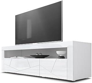 Mesa Baja para TV Valencia Cuerpo en Blanco Mate/Frentes en Blanco de Alto Brillo con Estructura 3D Elemento y Marcos en ...