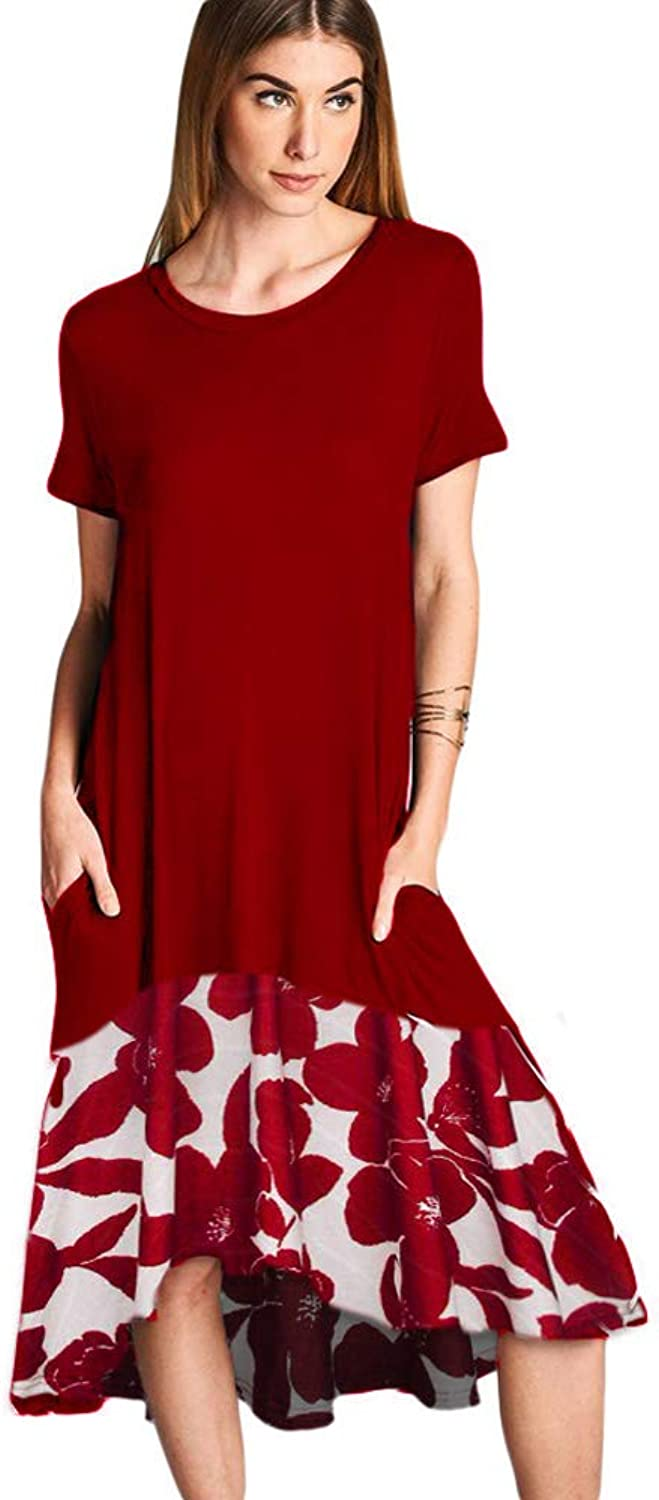 Ancapelion Women's Casual Short Sleeve T Shirt Dress Loose Patchwork Midi Dress with Pocket