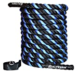EliteSRS 30ft Battle Rope Kit 1.5' Fitness Workout - Sleeve - Anchor Straps (Blue)