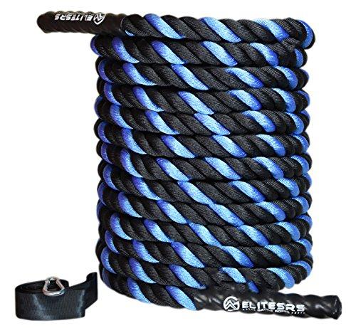 EliteSRS 30ft Battle Rope Kit 1.5' Fitness Workout - Sleeve - Anchor Straps...