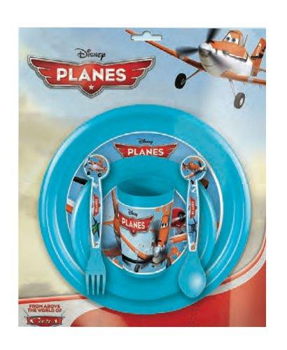 FUN HOUSE 004993 Planes Ensemble de Repas pour Enfants - 4 pièces, Polypropylène, Bleu, 26,5 x 7 x 25 cm