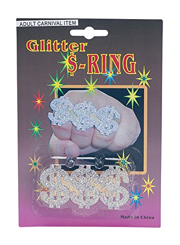 Bristol Novelty BA632 3 $ Signs Dollar Glitter Ring, Mens, One Siz