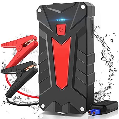 AOKBON Arrancador de Coches 1200A 13200mAh Arrancador de Baterias de Coche Portátil para Motor 6.0L Gasolina o 5.0L Diesel con luz LED y 2 Puertos USB de Carga rápida…