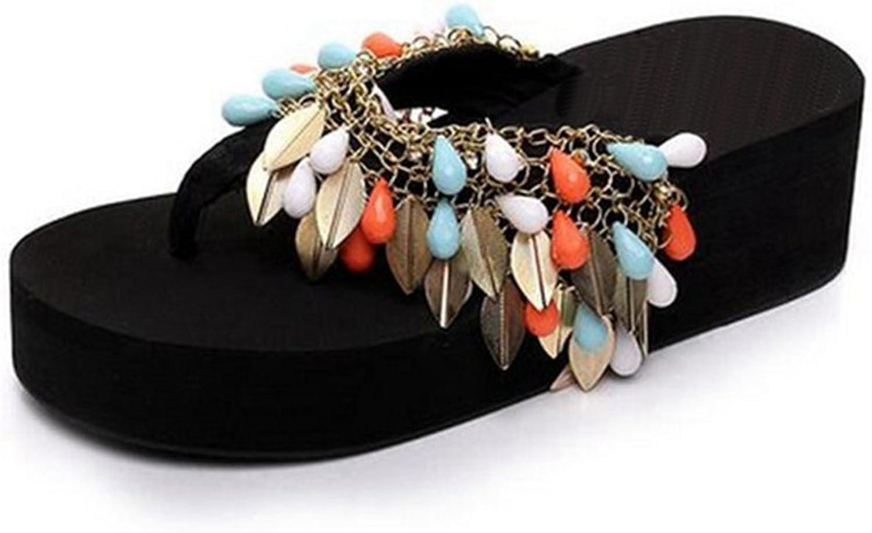 Kyle Walsh Pa Women Flip Flop Flat Sandals,Summer Cute Tassel Wedge Clip Toe Slipper shoes White