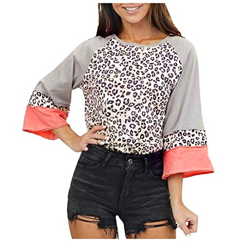 Dosoop Women's Fashion Casual Leopard Print O Neck Long Sleeve Loose T Shirt Tops T Shirts Tees Soft Stretchy Blouse