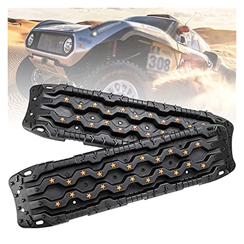 ERJIANG Recovery Traction Boards Emergency Tracks Traction Mat for 4x4 Off-Road Truck Mud, Sand, & Snow-2 Pcs Orange Track Tire Ladder (Color : B)