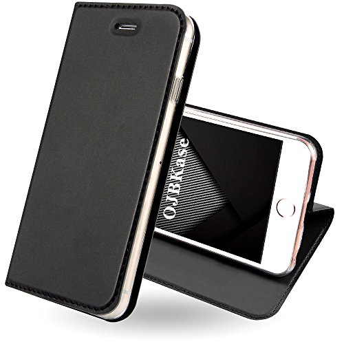 OJBKase Coque iPhone 5/5S/SE, Housse PU Premium Portefeuille de Protection, Emplacements Cartes avec Fonction Support et Languette Coque TPU Protection pour Apple iPhone 5/5S/SE (Gris Noir)