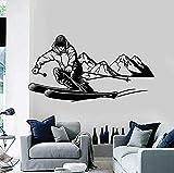 Pegatinas de pared y murales artísticos para que los esquiadores jueguen a esquiar ropa deportiva habitación de los niños dormitorio de niño desaceleración 78x42cm