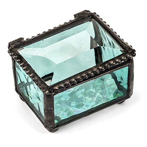 Ring Box Small Glass Jewelry Wedding Engagement Ring Dish Display Keepsake Trinket Case Gift Windsor Blue (Turquoise) Stained Glass J Devlin Box 325-3