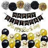 Ohighing Happy Birthday Schwarz Geburtstag Party Deko Set 1 Girlande 6 Pompoms 16 Luftballons...