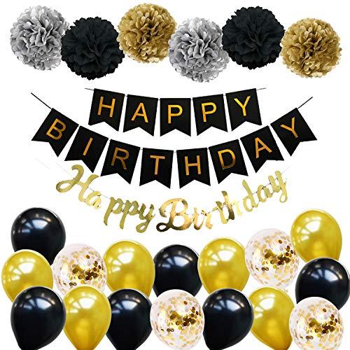 Ohighing Happy Birthday Schwarz Geburtstag Party Deko Set 1 Girlande 6 Pompoms 16 Luftballons Schwarz Gold Ballons Gold Konfetti Luftballon(ca.30cm) 1 Happy Birthday Banner in Gold metallic