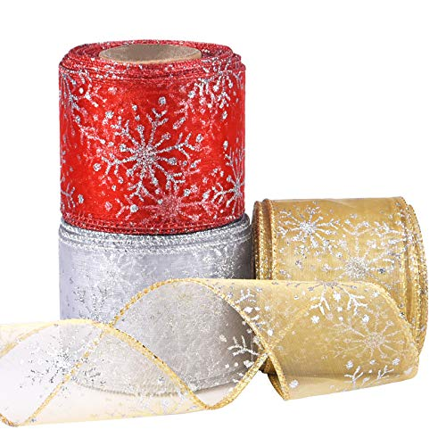 Livder Christmas Wired Sheer Glitter Snowflake Organza Ribbon for Xmas Tree, Wreath, Party Decoration, Gift Wrapping, 3 Rolls 2.5 Inch Wide