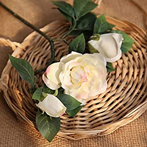Artificial and Dried Flower Autumn 3 Heads/Bouquet Small Bud Roses Artificial Flowers Silk Gardenia Wedding Home Desk Spring Decor Fake Floral Branch – ( Color: Light-Pink )