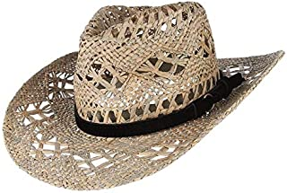 XJYWJ Straw Western Cowboy Hat For Women Cowgirl Summer Hats For Lady Sun Hat With Leather Beaded Belt Beach Cap (Color : ...
