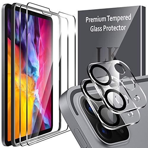 LK Compatibile con iPad PRO 2020/2021 (11 Pollice) Pellicola Protettiva, 2 Pezzi Vetro Temperato e 2 Pezzi Protezione Fotocamera Protezione Schermo Pellicola, Strumento Una Facile Installazione