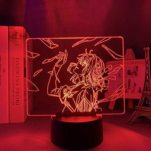 LBINGKJ Decoração de anime para adolescentes lâmpada noturna 3D anime luz de LED Evergarden para decoração de quarto violeta luz noturna presente de aniversário infantil lâmpada de mesa 3D 7 cores com botão de toque