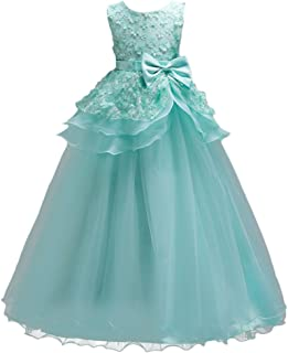Girl Ruffles Vintage Sleeveless Embroidery Princess Pageant Tulle Flower Wedding Dress Prom Dance Evening Ball Gown