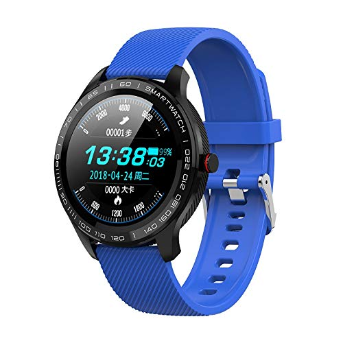L9 ECG Smart Horloges Heren Volledige Ronde Multi-Touchable Smartwatch IP68 Sport Horloges Voor Mannen Bluetooth Herinnering/Muziek,Blue