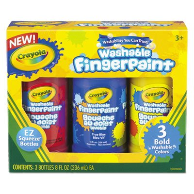 Washable Fingerpaint Pack, 3 Assorted Bold Colors, 8 oz Tubes, 3/Pack, Sold as 1 Each