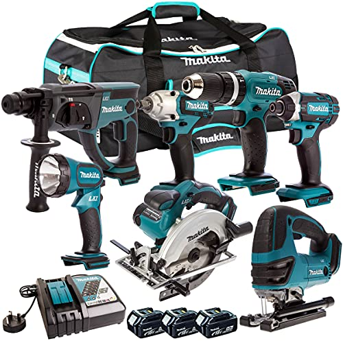 Makita DLX6068PT 18V 6 Piece Kit 3 x 5.0Ah Batteries Charger & Impact Wrench