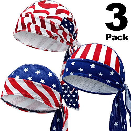 Chuangdi Sweat-Wicking Beanie Cap Skull Cap, Quick-Drying Pirate Hats for Men and Women Favors (Stars and Stripes Caps, 3 Packs)