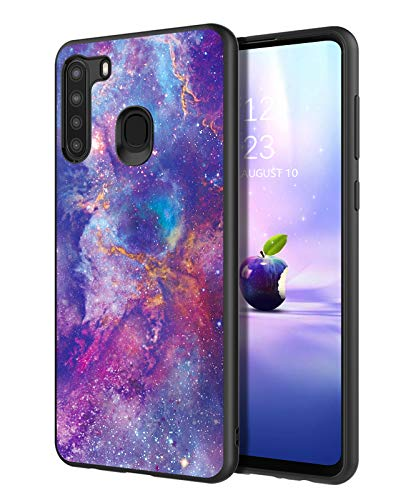 DUEDUE Samsung Galaxy A21 Case,Glow in The Dark Nebula Galaxy Design Shockproof Slim Hybrid Hard PC Cover Anti Slip PU Leather Full Protective Case for Samsung A21 for Women Girls, Purple/Black