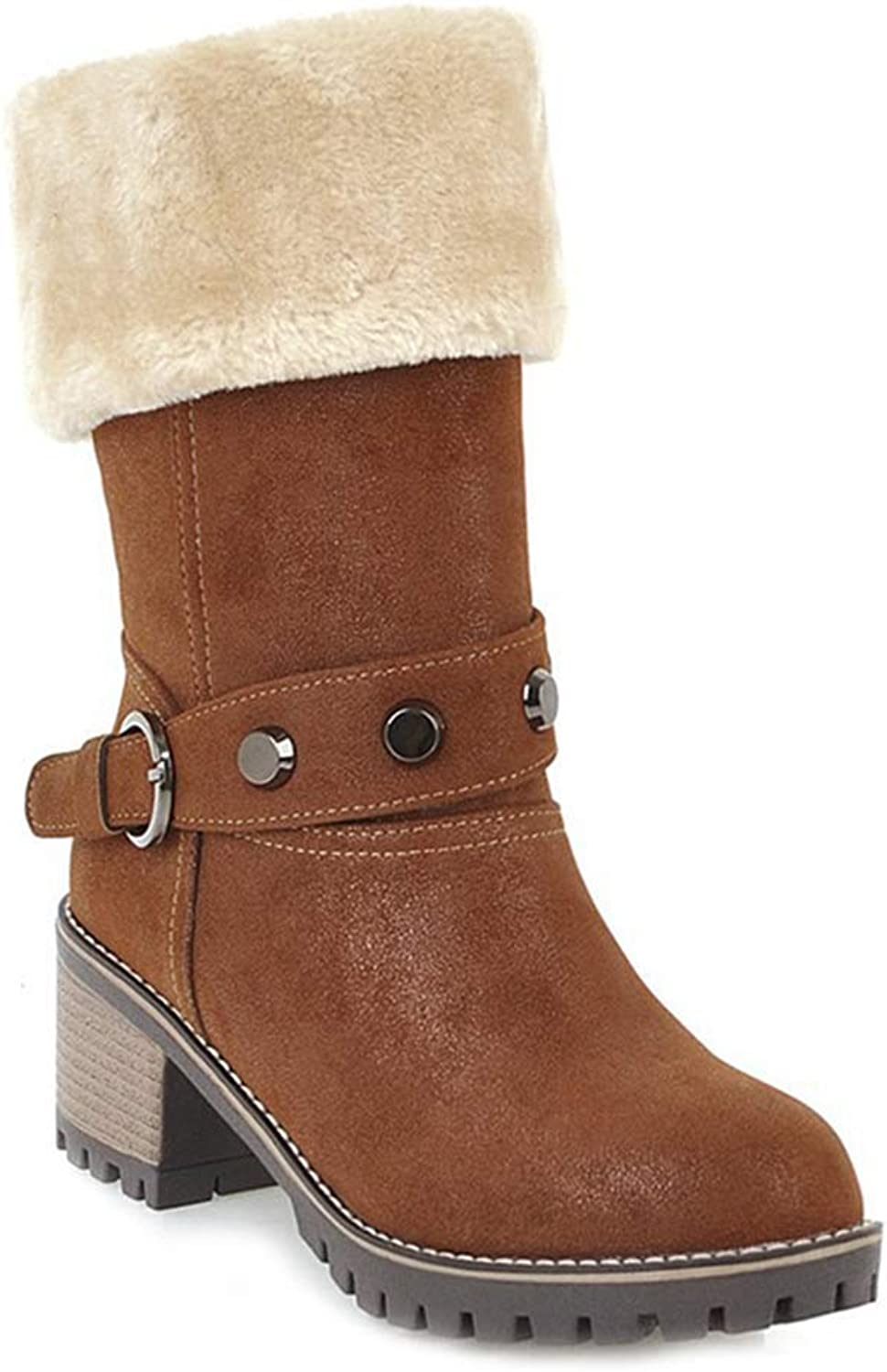 Elsa Wilcox Women Buckle Platform Chunky Mid Stacked Heel Bootie Mid Calf Warm Snow Boots Winter Fur Ankle Boots
