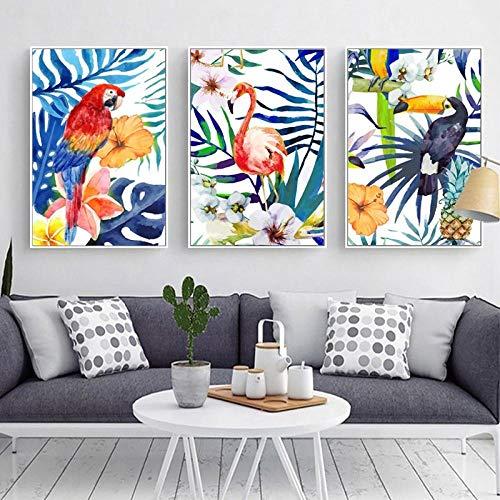 Alle soorten vogels en bloemen laat ananas Canvas Schilderen, Posters en Prints Muurfoto's voor Woonkamer Decoratie 50x70cmx3 geen Frame