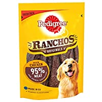 Enjoy irresistibly tasty dog treats, with a deliciously chewy texture thanks to Pedigree Ranchos, an optimum choice to treat or reward your four legged friend Packed with dog-friendly ingredients and a great taste. Ranchos are tender strips with meat...