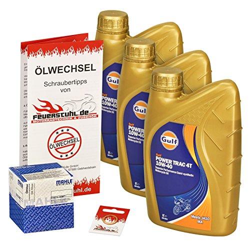 Gulf 10W-40 Öl + Mahle Ölfilter für Kawasaki ER-5 500 Twister, 97-06, ER500A - Ölwechselset inkl. Motoröl, Filter, Dichtring