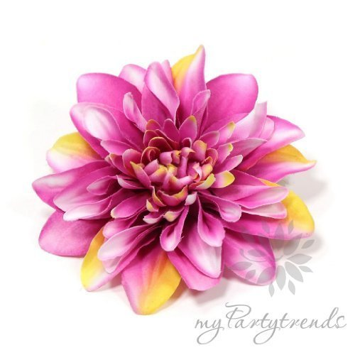 Elegante Ansteck-/Haarblume in pink-weiß-gelb. Ansteckblume Dahlie (Ø 12 cm; Höhe 2,5 cm) von myPartytrends. (Reversblume, Haarschmuck, Seidenblume)