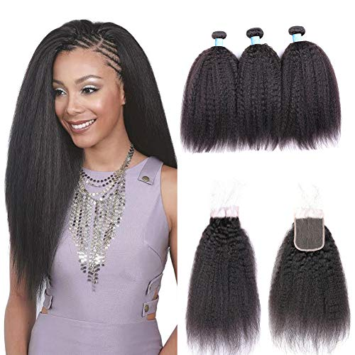 """BLY Mongolian Kinky Straight Virgin Human Hair 3 Bundles Weft with Lace Closure 4""""x4"""" Free Part-8A Unprocessed Yaki..."""