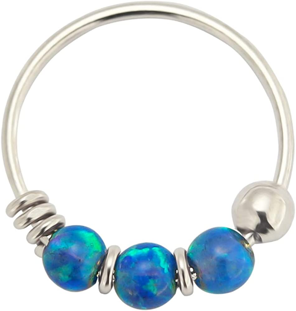 AtoZ Piercing Triple Opal Ball on 9K Solid White Gold 22 Gauge Hoop Nose Ring Jewelry