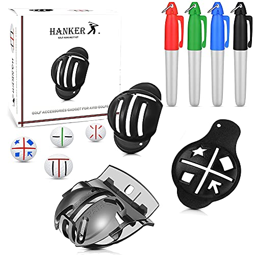 Hanker 7pack Golf Alignment Kit - Unique 3 Line Golf Ball Marker - Golf Accessories That Make Perfect Golf Gifts for Men or Women! Golf Ball Marker Tool for a Better Alignment.