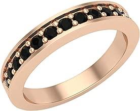 Halfway Semi-Eternity Black Diamond Wedding Ring/Band Comfort Fit 14K Gold
