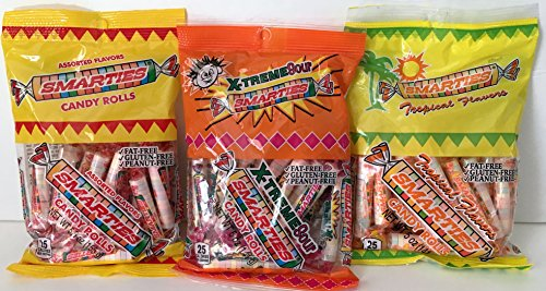 Smarties Triple Pack! Assorted Flavors, Tropical Flavors, and X-Treme Sour Smarties! (3 Items Totaling 15.5 Oz)