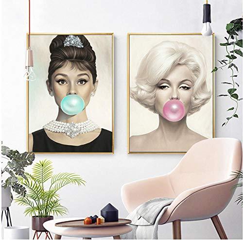 Marilyn Monroe Kauwen Kauwgom Canvas Prints Wall Art Foto Audrey Hepburn Schilderij Poster voor Woonkamer Slaapkamer Decor 50x70cmx2pcs frameloze
