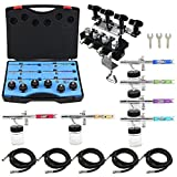 OPHIR 6PCS Different Color 0.35mm Dual Action Airbrush Guns Set Kit with 4-Airbrush Holders Set Airbrush Paint Gun for Model Painting Body Painting Cake